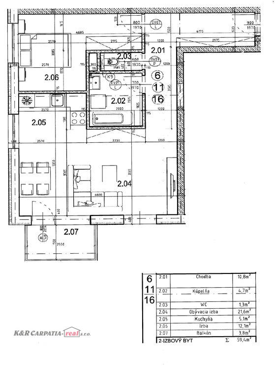 JPG Pôdorys 2.i.byt č 6,11,16 59m2 s toho balkón 3,8m2